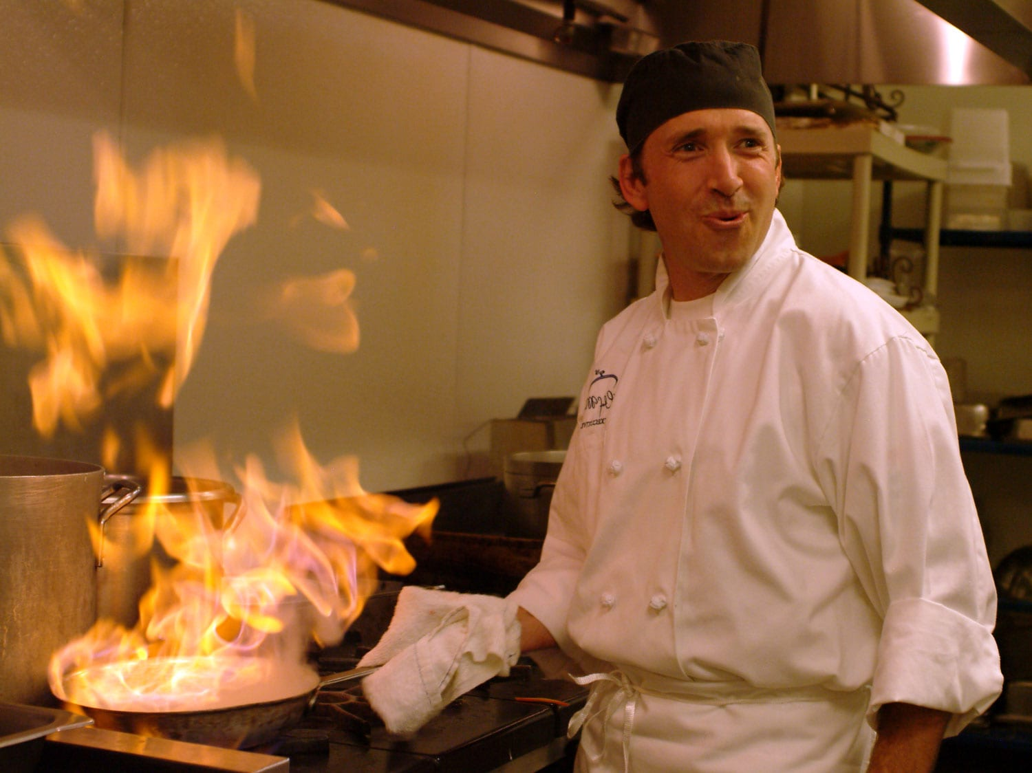 Chef Michael McKnight plays with fire
