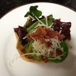 Phyllo Cup of Mixed Greens, Gruyere Cheese, Applewood Smoked Bacon Salad