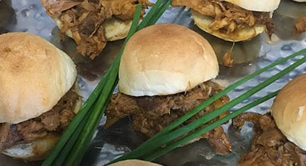 Finger Foods - Carolina Pulled Pork Sliders by Chef Michael's Catering in Asheville NC