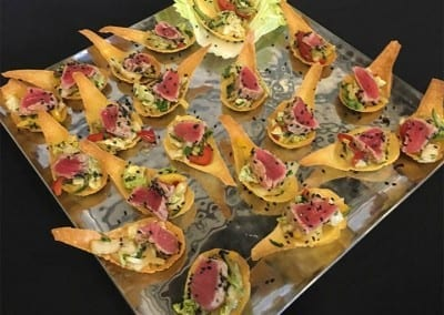 Finger Foods - Sesame Tuna Won Ton Spoons by Chef Michael's Catering